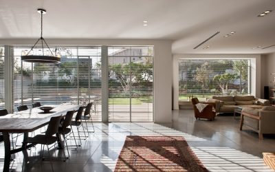 White Steel Windows with External Blinds