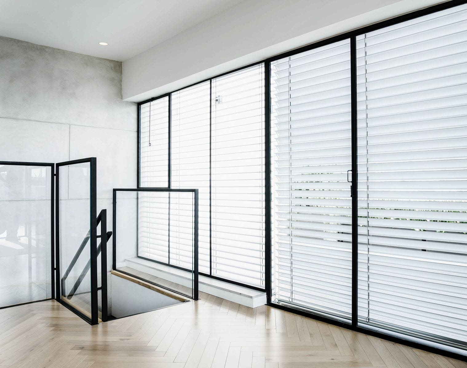 חלון ברזל מעוצב עם פרופיל ברזל מינימליסטי בצבע שחור עם זכוכית בידודית.
