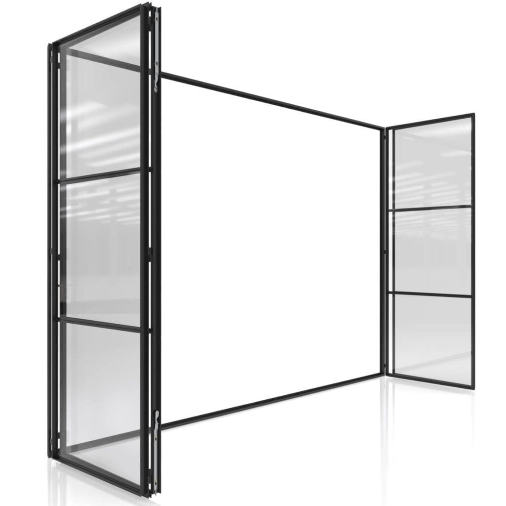 חלון בלגי ברזל פרופיל ברזל מינימליסטי פתיחה מקסימלית בקיפול אקורדיאון תובל מינימל