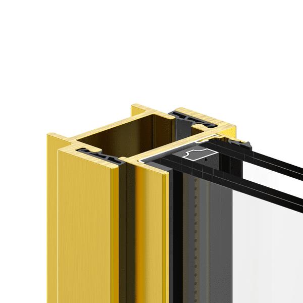 חלונות בלגיים מברזל עם פרופיל ברונזה בצבע זהוב לחלון מעוצב במראה יוקרתי, של תובל מינימל