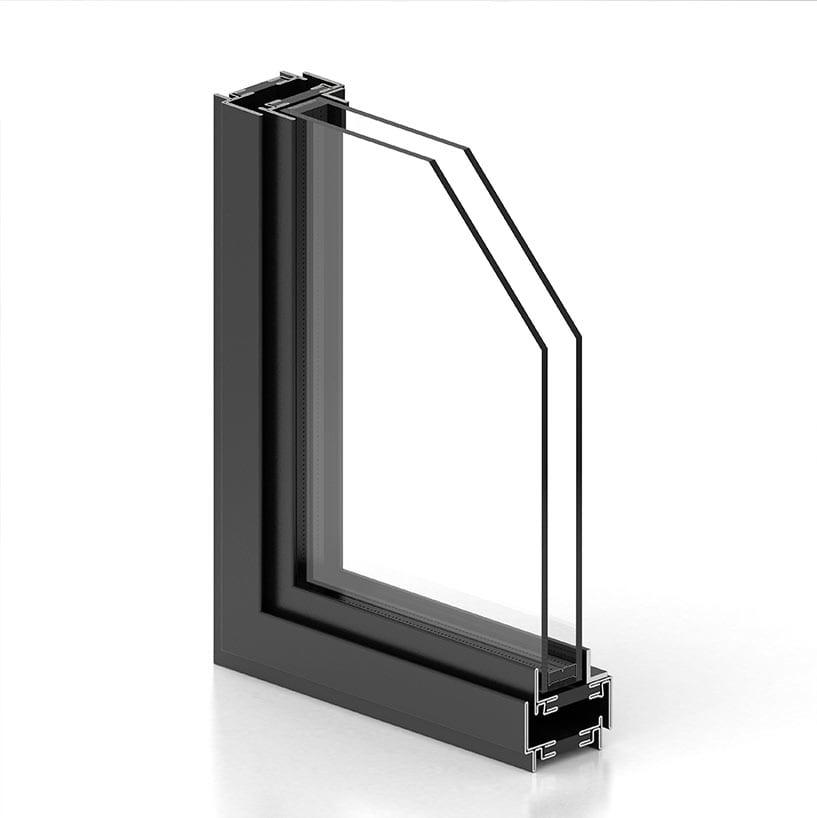 חלון בלגי ברזל עם פרופיל ברזל W50 לחלון מבודד עם בידוד תרמי של תובל מינימל